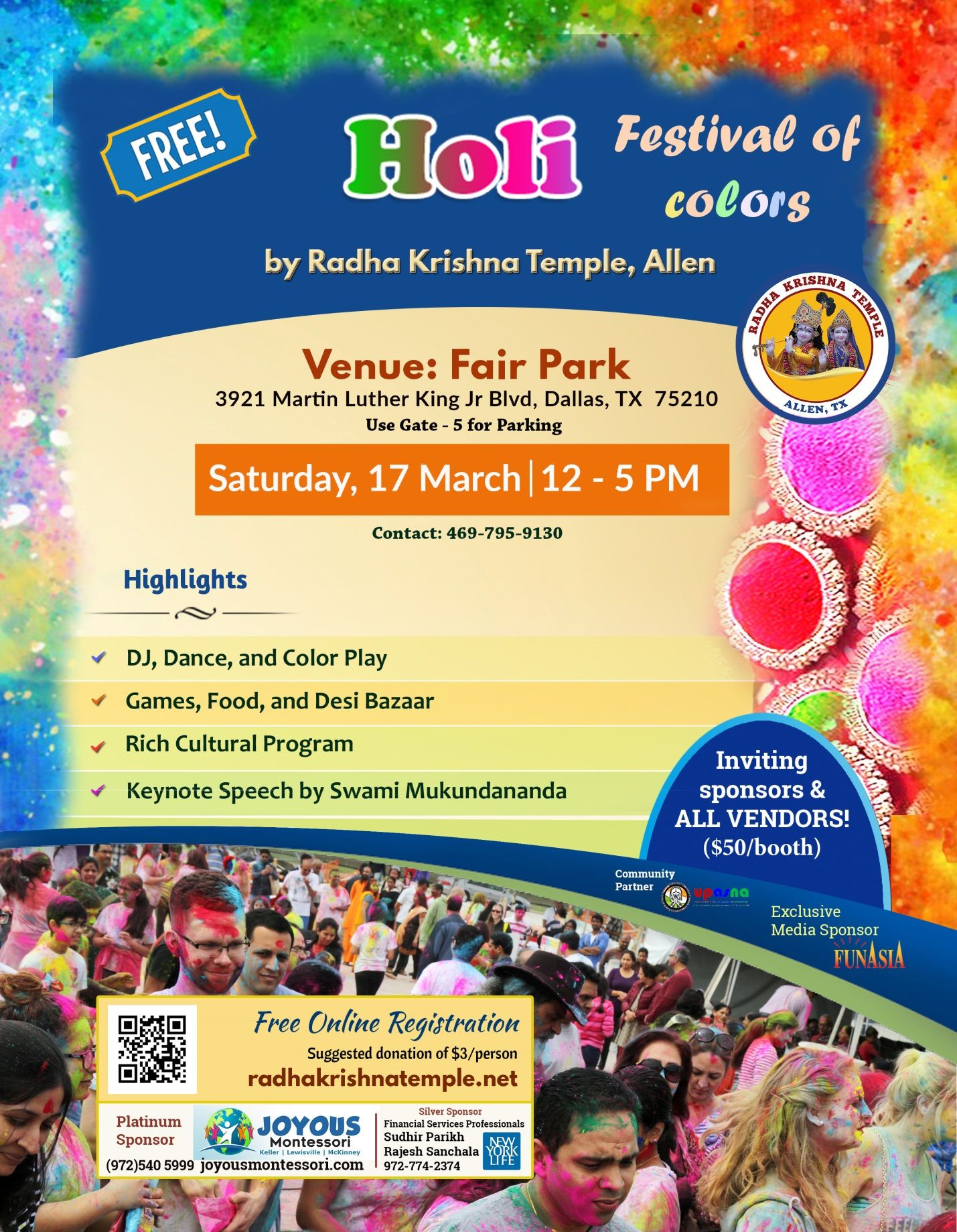 Dallas HoliFest @Fair Park *FREE* Festival of Colors by Radha Krishna Temple of