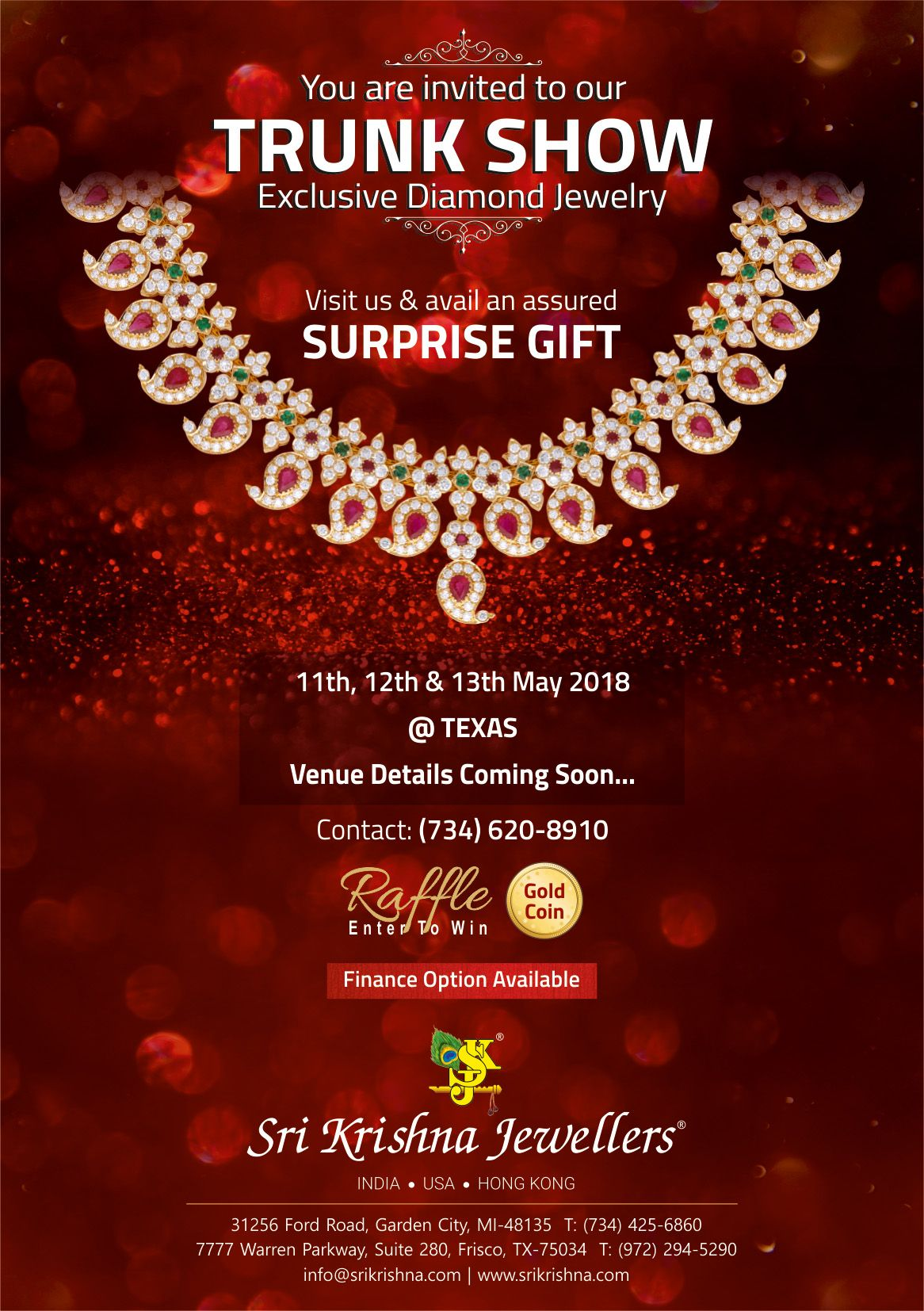Sri Krishna Jewellers - Trunk Show in Texas: Exclusive Diamond Jewelry